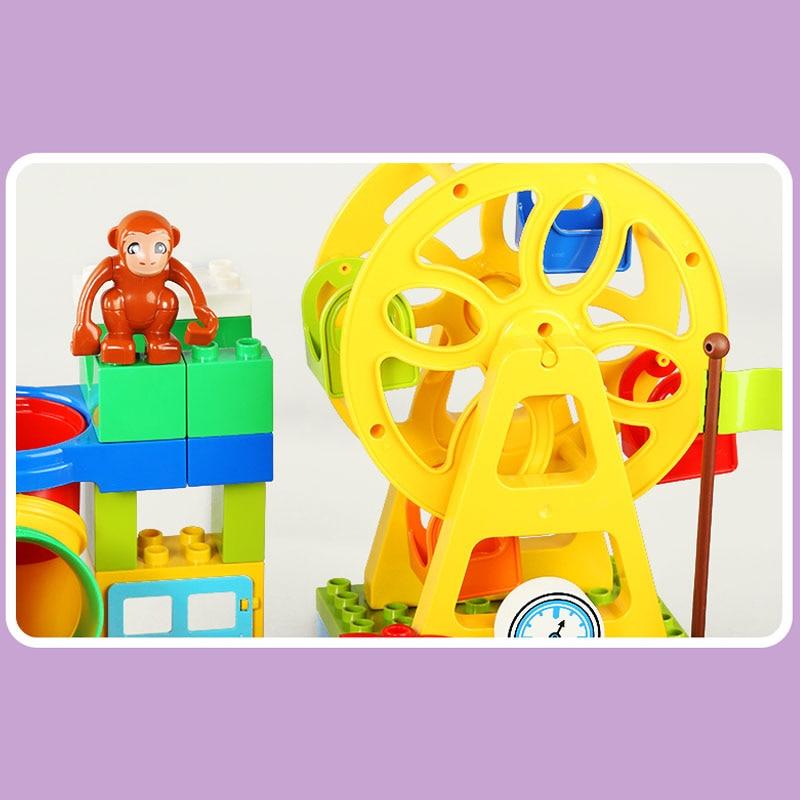 GOROCK 150Pcs Happy Amusement Park Big Building Block Set Educational Bricks no smell no poison Compatible Duploe For Girl Gifts