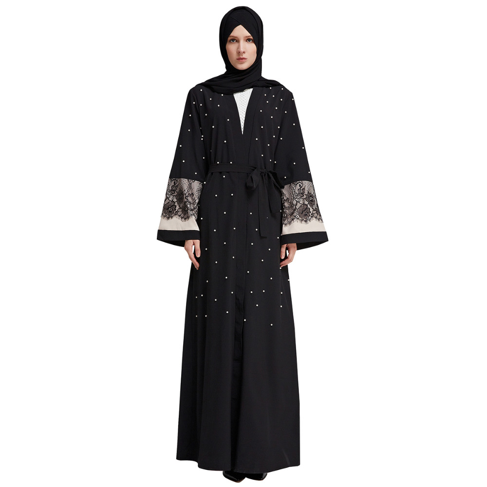 Islamic Women Kaftan Lace Patch Designs Cardigan Muslim Abaya Dress Hand  Pearl Beading Turkish Robes Arab Kimono Dubai Clothing f4c61a8a39d