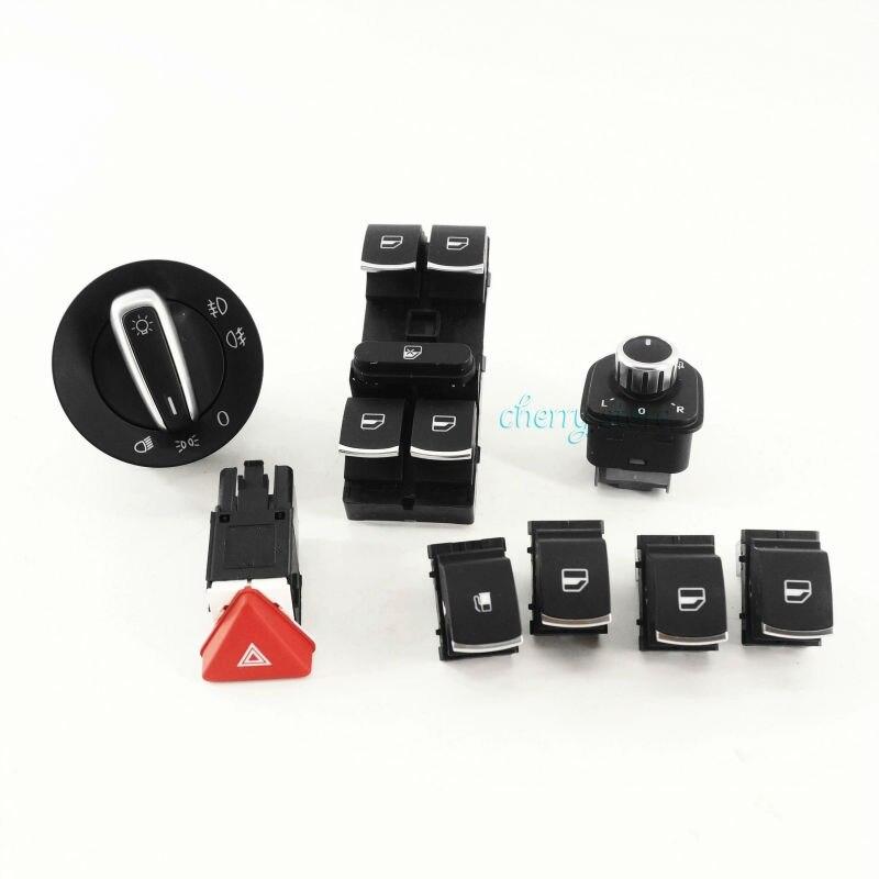 NEW 8Pcs Combination Switch Set Headlights/Windows/Rear View Mirror/Fuel Tank Cap/Hazard Light Switch For VW Jetta Golf MK5 MK6