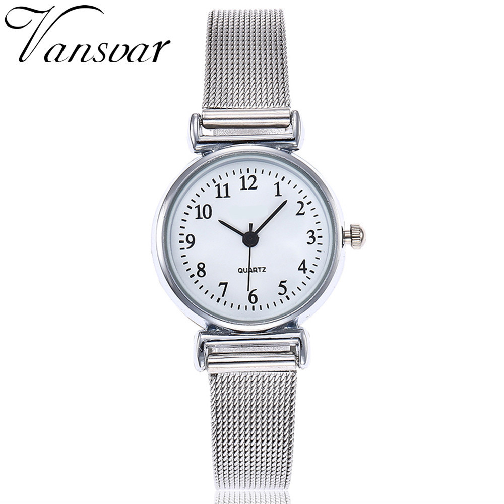 Hot Fashion Women Silver Mesh Belt Watches Luxury Casual Ladies Steel Quartz Watches Vansvar Clock Relogio Feminino Dropshipping
