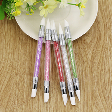 Beautiful 5Pcs/Set 2 Way Nail Art Silicone Sculpture Pen for Emboss Carving