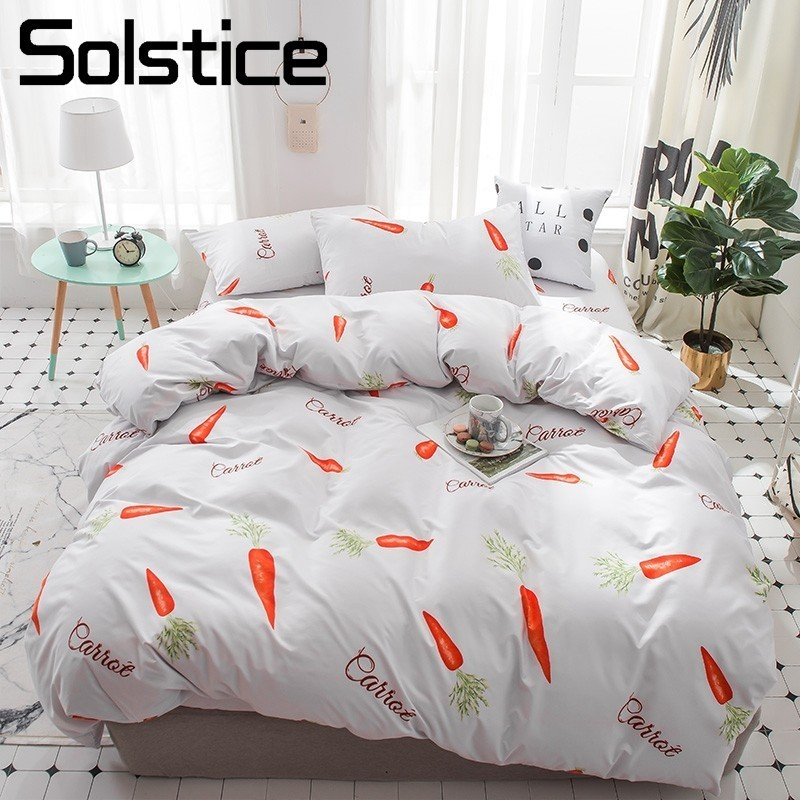 Solstice Home Textile Kid Teen Bed Linens Carrot Pattern White Duvet Quilt Cover Case Flat Sheets Pillowslip Boy Girl Bedclothes