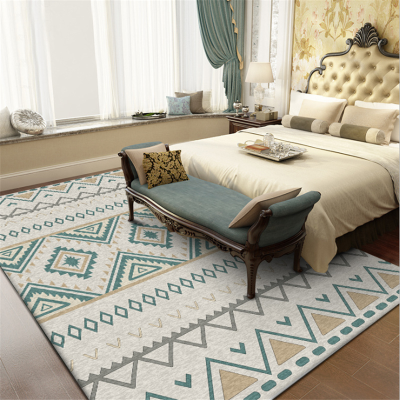 AOVOLL Rugs And Carpets For Home Living Room Carpet Kids Room Geometric Ethnic Style Rug Non-slip And Anti-wrinkle Floor Mat