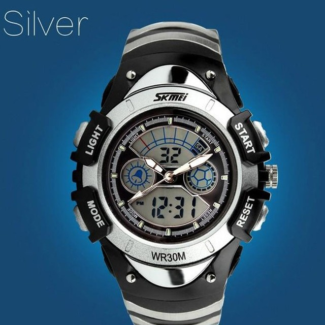 Fashion Children Watches Dual Time LED Digital Quartz Multifunctional 30m Waterproof Swim Student skmei brand Sports Watch