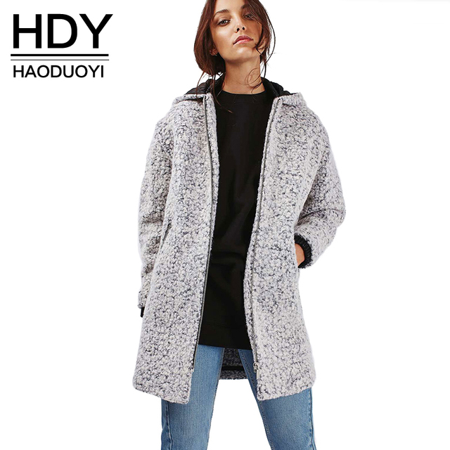 HDY Haoduoyi Solid Color Women Trench Coats Long Sleeve Crew Neck Double Pockets Slim Coats Women Zippers Soft Casual Coats