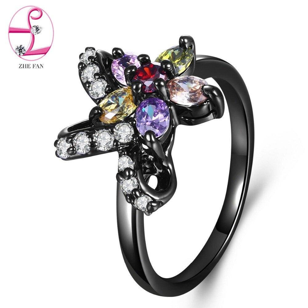 ff9f0b5cbe1f Cheap ZHE FAN Multicolor 3A CZ Cubic Zircon de moda Vintage para las  mujeres de JewelryBlack