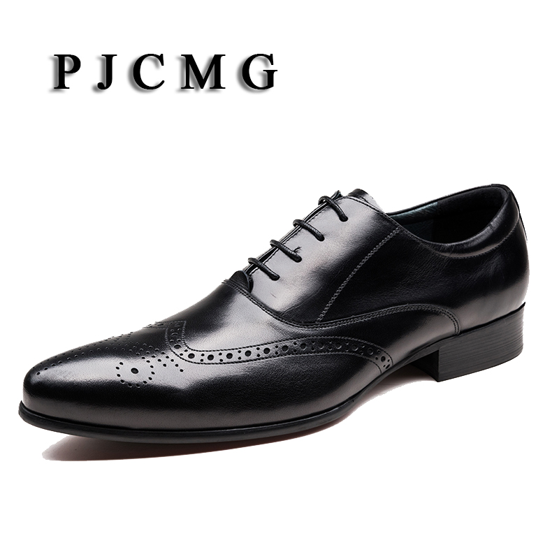 PJCMG Fashion Black/Wine Red Oxfords Mens Dress Lace-Up Pointed Toe Shoes Genuine Leather Formal Business Man Wedding Shoes high quality carved black red mens dress oxfords lace up pointed toe genuine leather wedding mens business for work shoes
