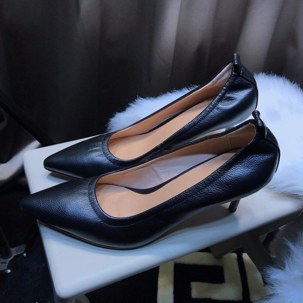 En Color Femmes Nude Chaussures Slip Hauts Superstar L9f1 Cuir blanc Talons Main Pointu Véritable Pompes 2018 Mariage noir Concise De Stiletto Piste On Bout fFnC44
