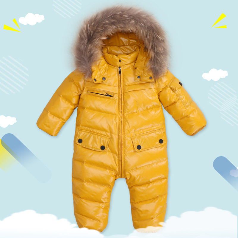 children winter Jumpsuit duck down baby Rompers fur infant girls boys Overalls hooded kids snowsuits warm baby clothes russia winter boys girls down jacket boy girl warm thick duck down