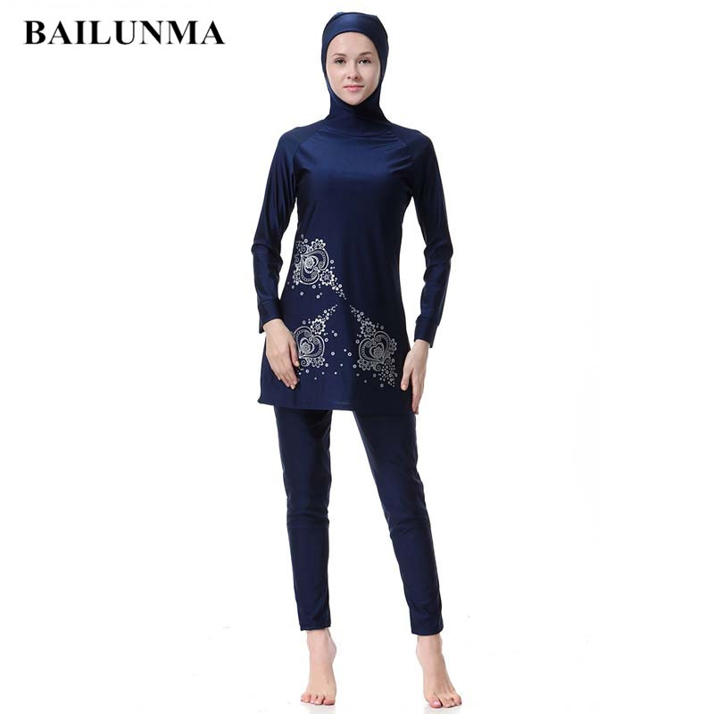 Plus Size Surfing Suit Islamic Swimwear With Swimming Cap Women Girls Muslim Swimwear Full Cover Modest Islamic Swimming Suits
