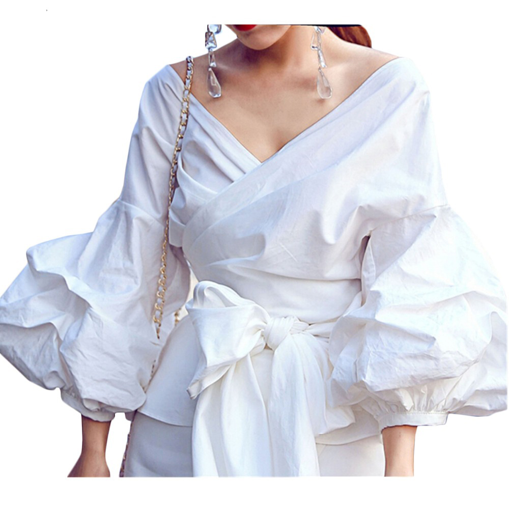 S 4Xl Summer Blouses Women Black Fashion Sexy V Neck Puff -9990