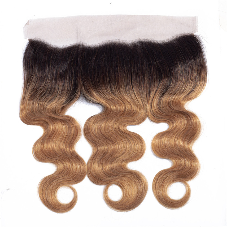 1B 27 Honey Blonde Color Ombre Ear To Ear Lace Frontal Closure Free/Middle/Three Part Brazilian Body Wave Human Hair Weave Remy