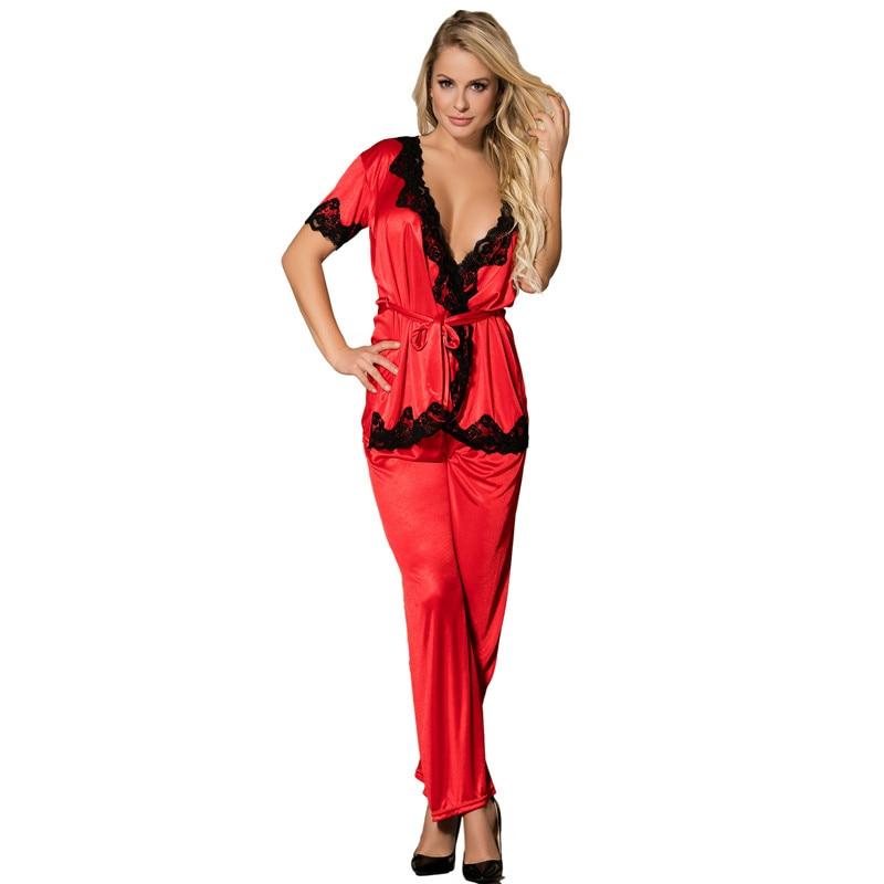 Two-pieces tops and pants   pajama     set   red black short sleeve pyjama ladies breathable satin pyjama pants lace sleepwear RW70224