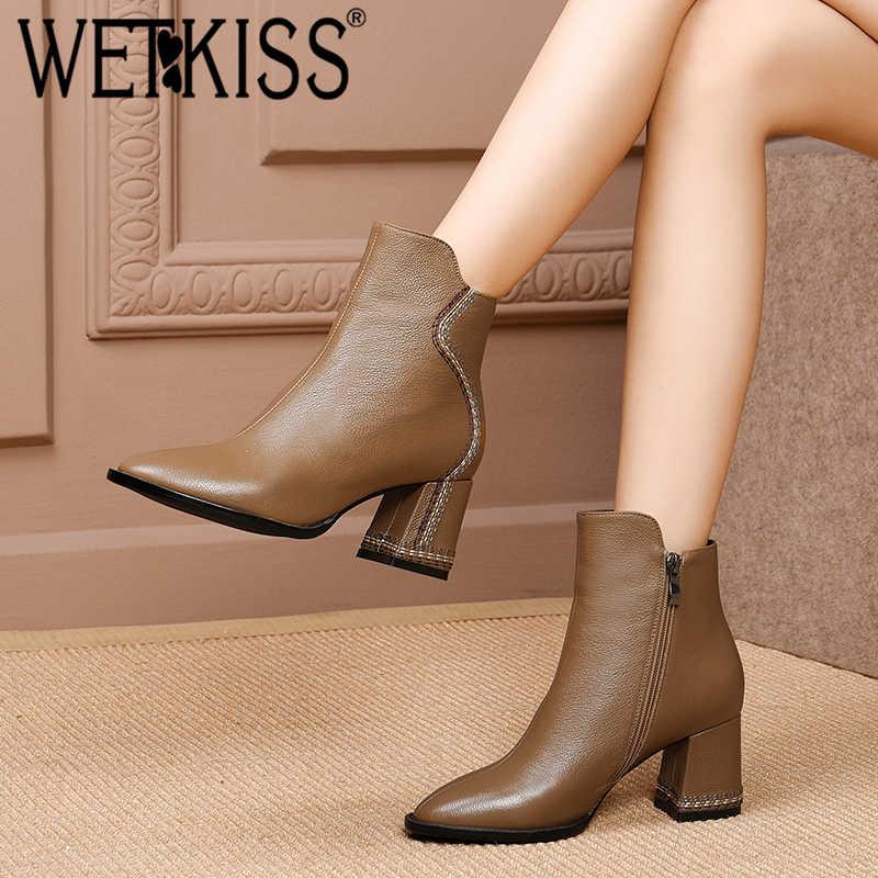 WETKISS Kalın Yüksek Topuklar Kadın yarım çizmeler Kare Ayak Ayakkabı Dikiş Patik Moda Zip Inek Deri kadın ayakkabısı 2018 Kış