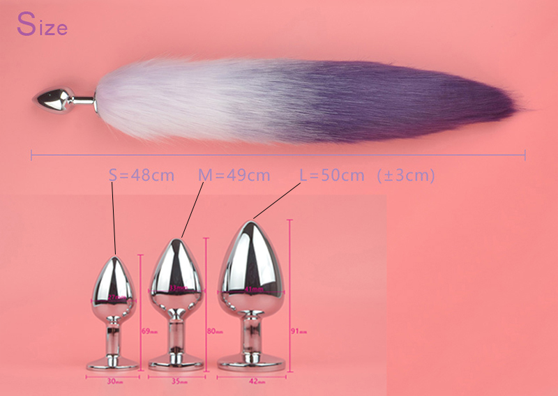 3 Sizes Anal Plug Metal Fox Tail Faux Fur Butt Plug Stainless Steel Gradient Red Blue Women Cosplay Sex Toys Adult Erotic Games