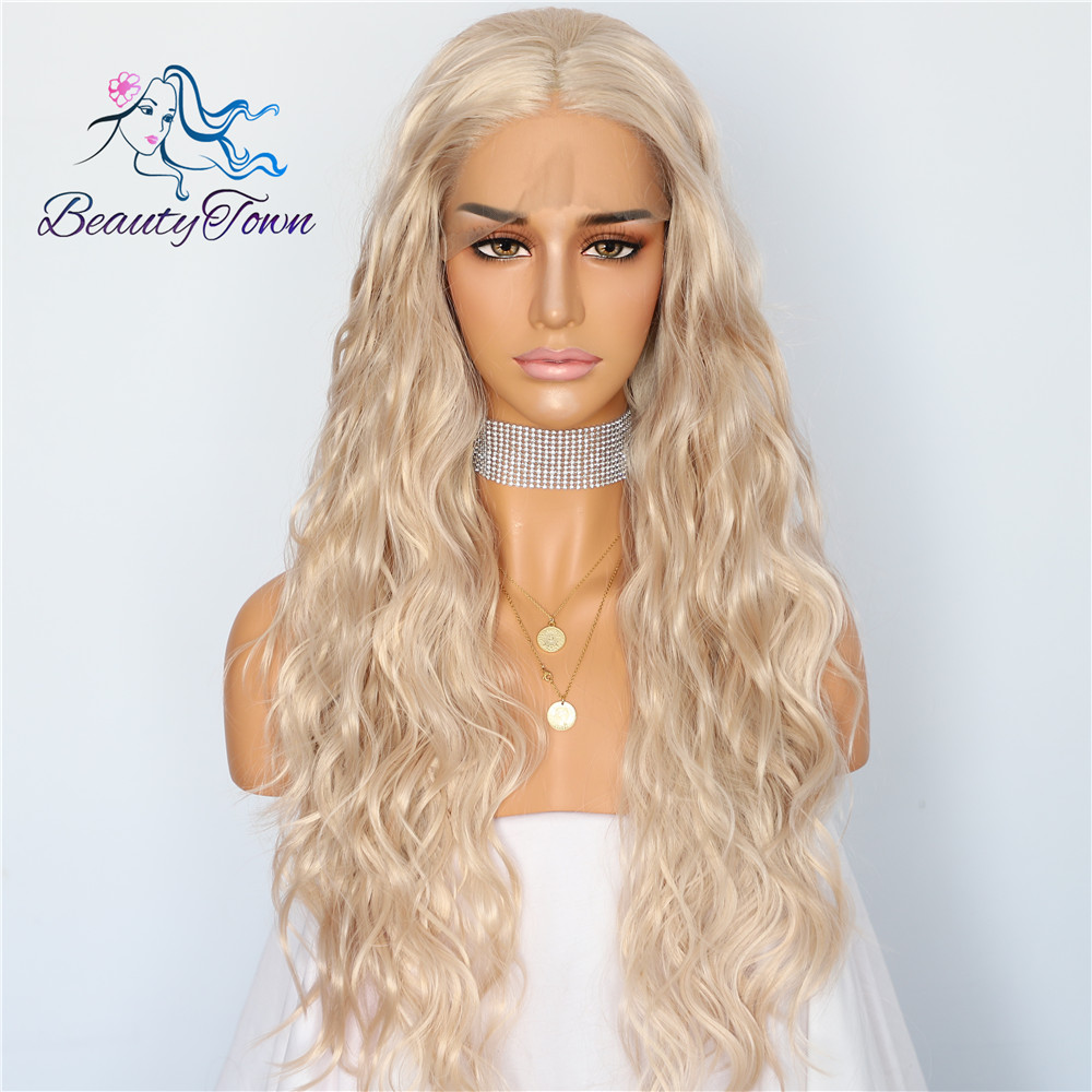 BeautyTown Beige Blonde Color Natural Wave Heat Resistant Hair Women Wedding Party Daily Makeup Present Synthetic