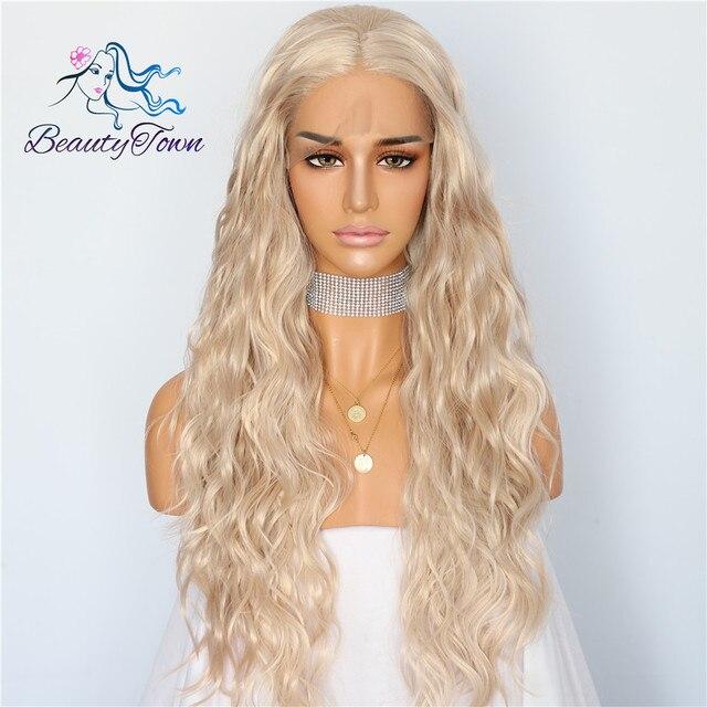 BeautyTown Beige Color rubio onda Natural pelo resistente al calor mujeres boda fiesta maquillaje diario presente peluca frontal de encaje sintético