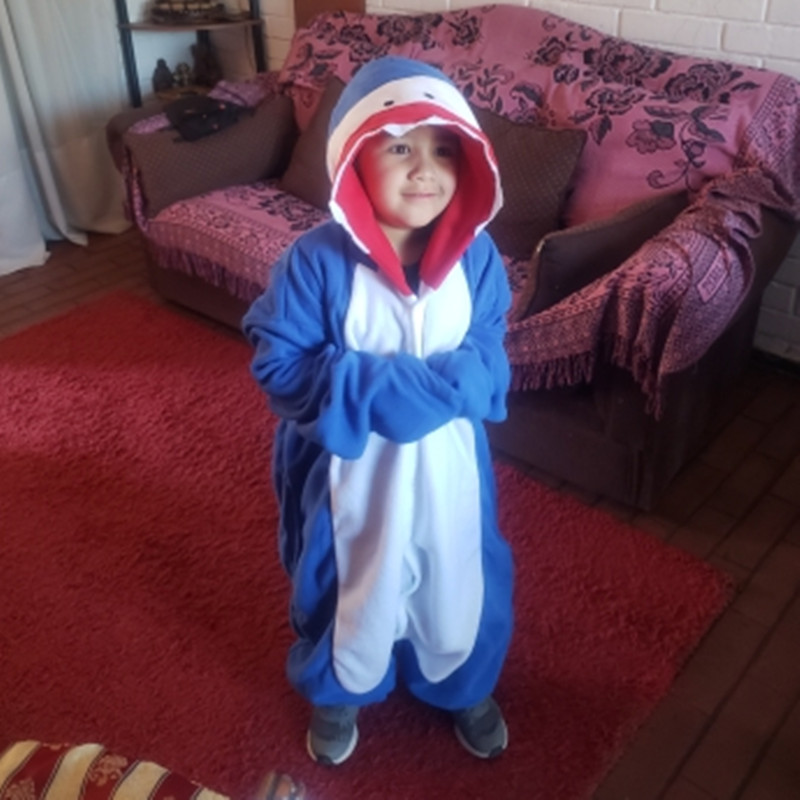 HKSNG New Kids Winter Cartoon Soft Warm Fleecel Blue Shark Kigurumi Onesie Cosplay Costume Animal Family Pajamas Homewear