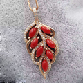 Hot sale red precious coral pendant 925 sterling silver leaf necklace pendant 3mm*6mm natural precious coral silver jewelry