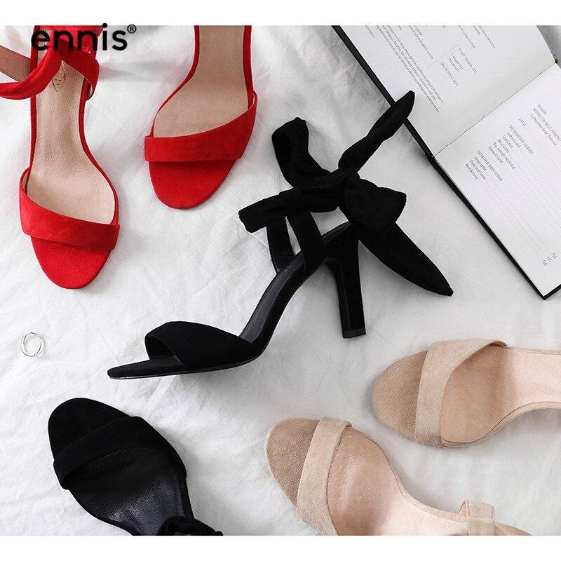 ENNIS 2019 ส้นสูง Gladiator รองเท้าแตะผู้หญิงหนังนิ่ม Sheepskin รองเท้าแตะ Lace Up สุภาพสตรีบางส้น Sndals สีแดงสีดำฤดูร้อนรองเท้า s957-ใน รองเท้าส้นสูง จาก รองเท้า บน   1