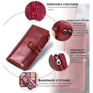Image 5 - Portafogli da donna in vera pelle 2020 portafoglio lungo organizzatore caldo moda pelle bovina Hasp Vintage Lady Clutch Carteira Feminina borse