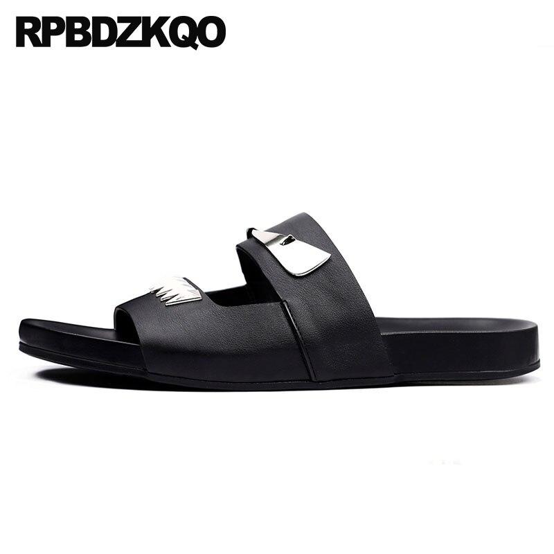 slides beach slip on genuine leather stud men sandals summer casual large size metal flat slippers shoes 45 rivet fashion black