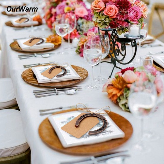 Ourwarm Party Favor 10pcs Wedding Horseshoe Gift For Guest Bronze