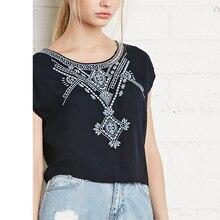 Contrast Colour Geometric Embroidery Pattern Women Blouses Female Loose Short Shirts Ladies Black Tops Plus Joker StyleLBAI0118