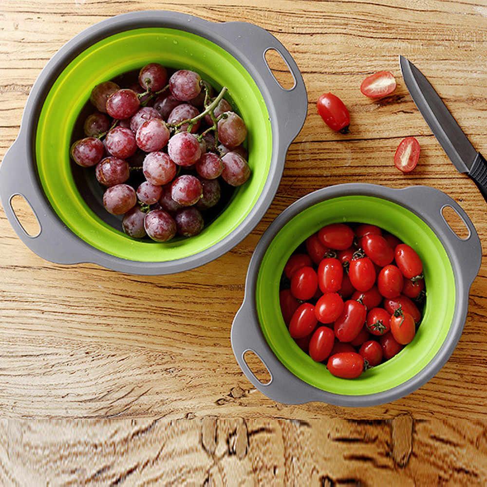 ตู้แร็คซิลิโคนผลไม้ผักล้างตะกร้าตะแกรง Drainer กับจับเครื่องมือครัว 6.OCT.26