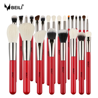 BEILI Red 24pcs Professional Makeup Brushes Set Natural Hair Powder Cream Foundation Blusher Eye blending brow Lip Eyeliner