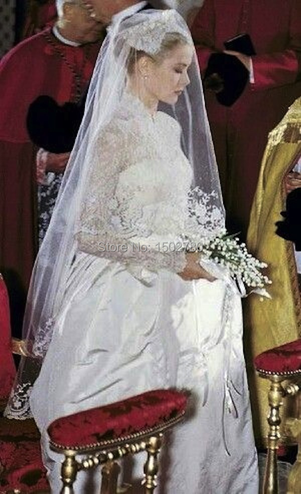 Vintage Grace Kelly Wedding Dress Long Sleeve High Neck Lace Top ...