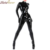 Women Black Rubber Catsuit Sexy Latex Costume Plus Size Second Skin Rubber Fetish Jumpsuit Customize Service LC036