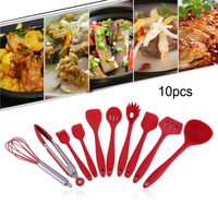10Pcs Silicone Cooking Tools Silicone Kitchen Utensils Set Spoon Soup Ladle egg Turner Hygienic Solid Coating Best Pric
