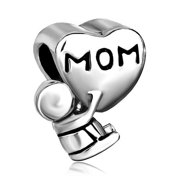Free Shipping 1PC Silver Plated MOM Baby Charms Large Hole Beads Fits European pandora Charm Bracelets Jewelry