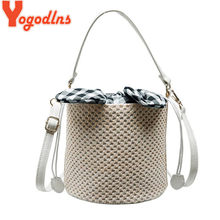 Yogodlns Chic Straw Bucket Knitting Bag Female Messenger Bags for Women Small Shoulder Bag Beach Travel Top-Handle Bags(China)