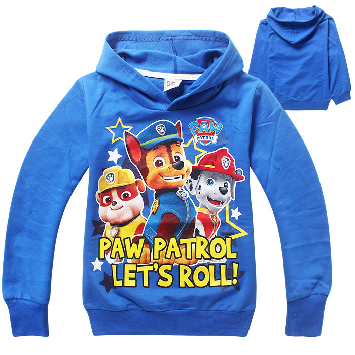 Paw patro dog boys t shirt cotton long sleeved shirt cartoon patrol dog girl kids hooded
