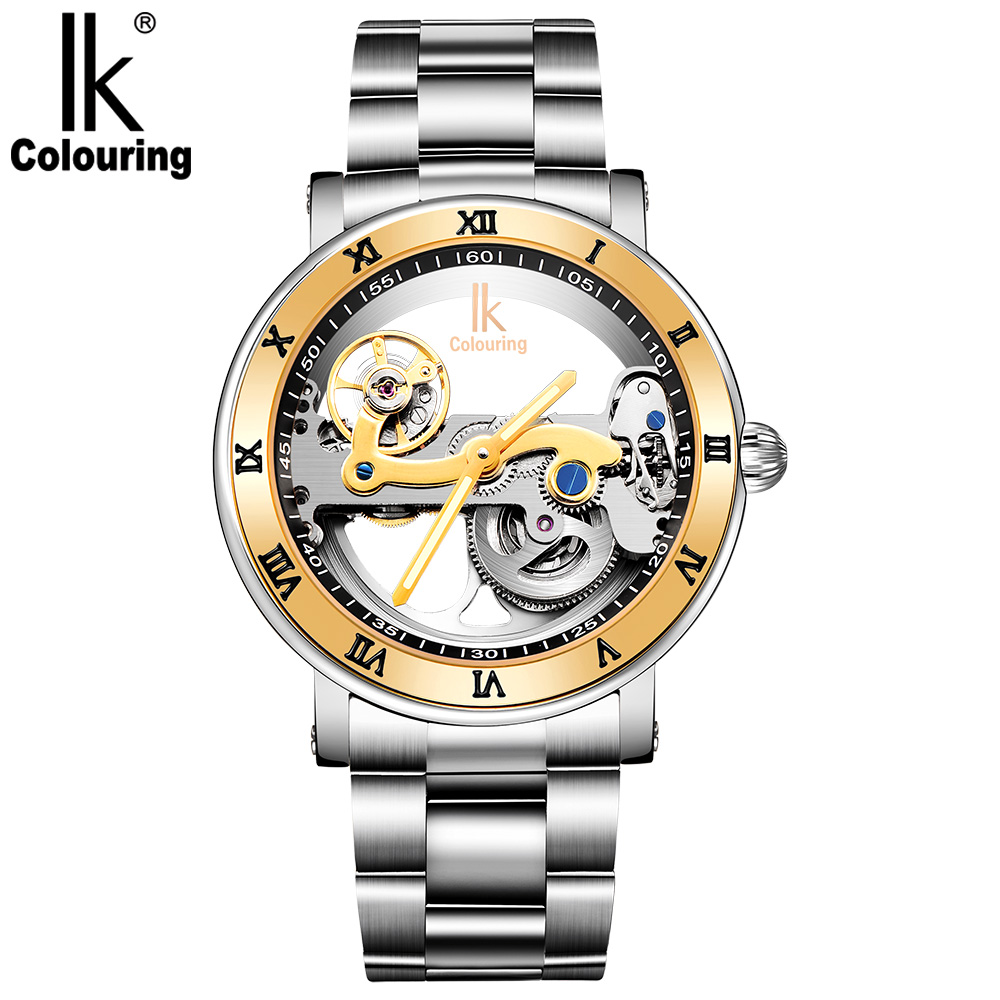 IK Coloring Original Men's Mechanical Bridge Skeleton Watch Stainless Steel Male Clock Automatic Relogio Masculino ik coloring bridge analog display mechanical male clock automatic wristwatch golden bezel skeleton watches relogio masculino