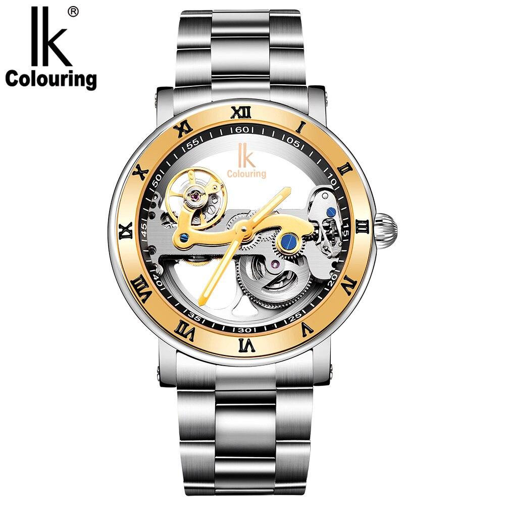 IK Coloring Original hombres mecánico puente esqueleto reloj acero inoxidable hombre reloj automático reloj-in Relojes mecánicos from Relojes de pulsera    1