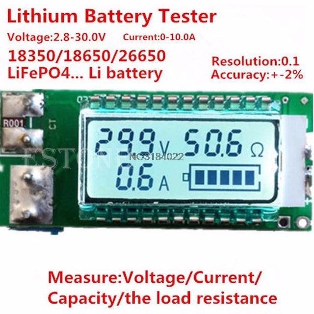 1PC Lithium Li ion 18650 battery tester Capacity Current Voltage Detector LCD Meter Drop Shipping