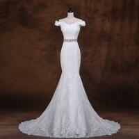 XINGFUYANG Tekne Boyun Mermaid vestido de noiva curto Kristal Kemer Gelinlikler Boncuklu vestido de casamento 2018 Elbise