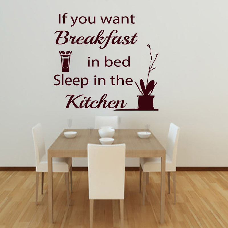 Sleep In The Kitchen Quote Sayings Vinyl Removable Orange Juice Wall Sticker Home Decor Living Room