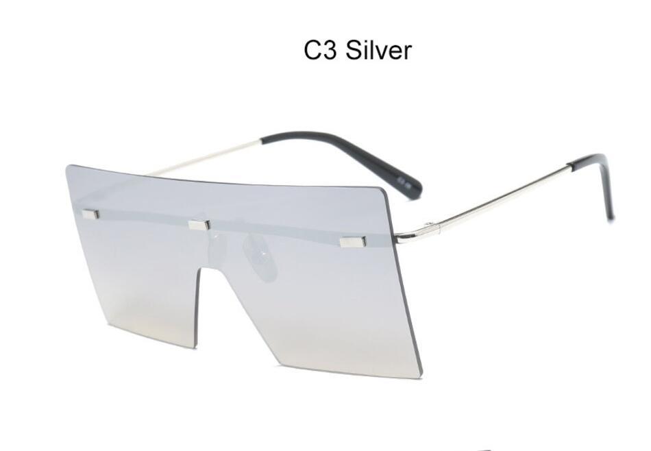 Oversize Brown Sunglasses 2020 Women Retro Vintage Sunglasses Luxury Brand Rimless Eye wear Big Shades 10