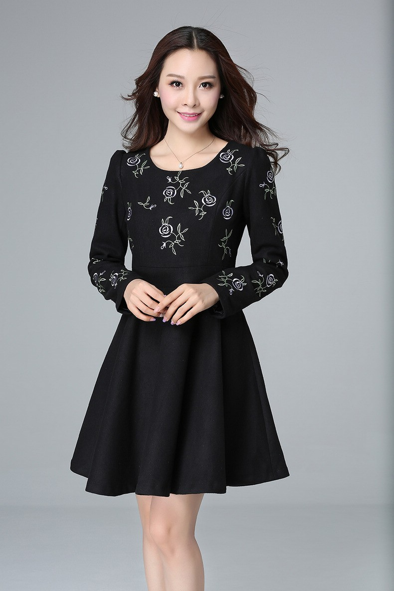 us $34.32 34% off|new 2015women autumn winter dress woolen long sleeves  pinched waist embroidery elegant ball gown dress plus size vestidos