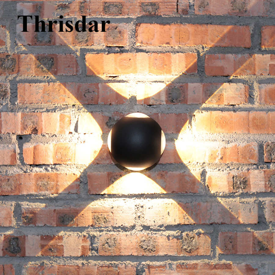 Thrisdar 12W Cross Effect Outdoor Led Wall Light IP54 Waterproof Wall Lamp Aluminum Garden Villa Balcony Corridor Porch Light modern villa porch light led wall light outdoor waterproof ip54 modern porch light led indoor outdoor wall lamps garden lamp
