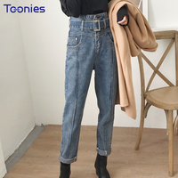 Archiwalne Stylu BF Harajuku Denim Jeans Spodnie Harem Pants Kobiet Szczupła Mody Kobieta Wysoka Talia Sashes Pantalon Femme Streetwear