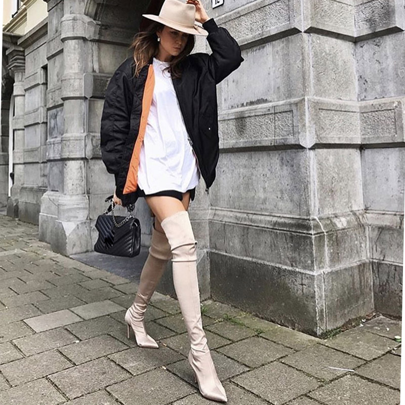 autumn women pointed toe over the knee boots women stretch fabric boot women velvet fashion boots thin heel socks boots in Over the Knee Boots from Shoes