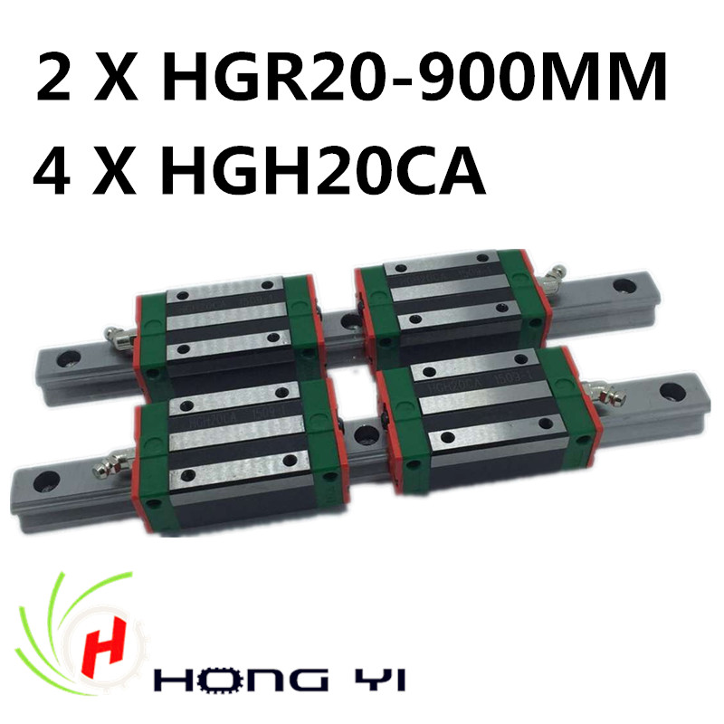 2pcs HIWIN Carril Linear Rail 900mm Linear rails HGR20,+ 4pcs Rail Linear Block HGW20CA HGH20CA for CNC 2pcs hiwin carril linear rail 800mm linear rails hgr20 4pcs rail linear block hgw20ca hgh20ca for cnc