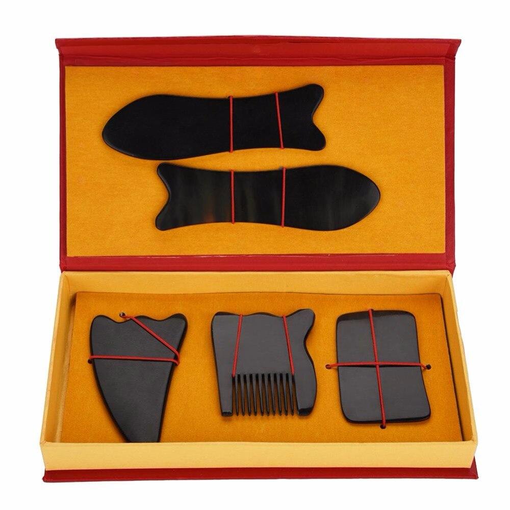5 unids/set chino tradicional acupuntura masaje para el cuerpo Facial cuerno raspado placa relajación Salud Cuerpo rasguños cara
