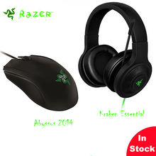 Фотография In Stock Original Razer Kraken Essential Over-Ear Game Headset+Razer Abyssus Essential Wired Gaming Mouse eSports gaming sets