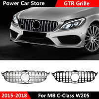 For W205 GT AMG GTR Grille Front GT R Grill for Mercedes Benz W205 c200 c250 c300 2015 2019 Grille Chrome Silver front grille
